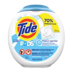 Tide PODS Laundry Detergent Liquid Pacs, High Efficiency Compatible, Free & Gentle, 72 Per Pack, 4/Case, 288 Total