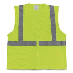 PIP Two-Pocket Zipper Safety Vest, Hi-Viz Lime Yellow, Large