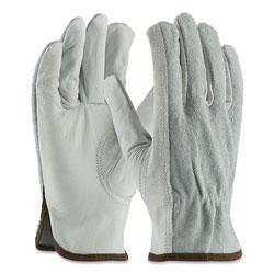 PIP Top-Grain Cowhide Leather Work Gloves, Regular Grade, Large, Gray