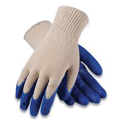 PIP Seamless Knit Cotton/Polyester Gloves, Regular Grade, Large, White/Blue, 12 Pairs