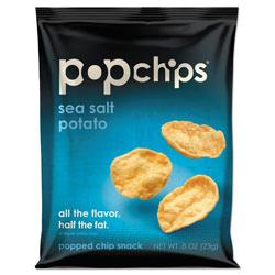Popchips Potato Chips, Sea Salt Flavor, 0.8 oz Bag, 24/Carton