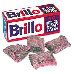 Brillo® Hotel Size Steel Wool Soap Pad, 10/Box