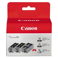 Canon 1509B007 (CLI-36) Ink, Black/Tri-Color, 3/PK