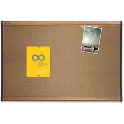 Quartet® Colored Cork Bulletin Board, 48 x 36, Graphite Blend Cork/Maple Frame