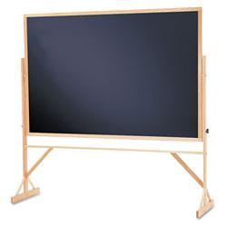 Quartet® Reversible Chalkboard, 72 x 48, Black Surface, Oak Frame