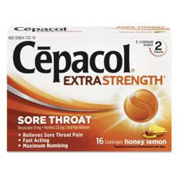 Cepacol® Extra Strength Sore Throat Lozenges, Honey Lemon, 16 Lozenges/Box, 24 Box/Carton