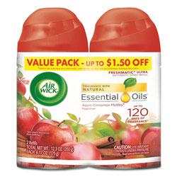 Air Wick Freshmatic Ultra Spray Refill, Apple Cinnamon Medley, Aerosol, 5.89 oz, 2/Pack