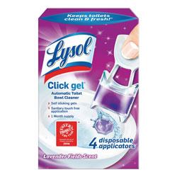 Lysol Click Gel Automatic Toilet Bowl Cleaner, Lavender Fields, 0.68 oz, 4/Box