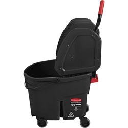 Rubbermaid Executive WaveBrake Down-Press Mop Bucket, Black, 35 Quart