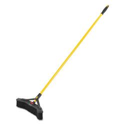 Rubbermaid Maximizer Push-to-Center Broom, 18 in, Polypropylene Bristles, Yellow/Black