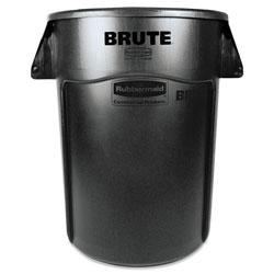 Rubbermaid Brute Vented Trash Receptacle, Round, 44 gal, Black