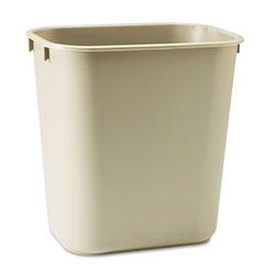 Rubbermaid Deskside Plastic Wastebasket, Rectangular, 3.5 gal, Beige