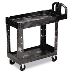 Rubbermaid Heavy-Duty Utility Cart, Two-Shelf, 17-1/8w x 38-1/2d x 38-7/8h, Black