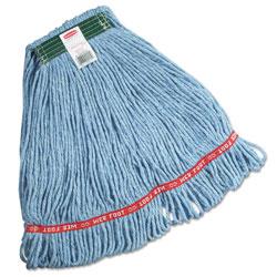 Rubbermaid Swinger Loop Wet Mop Heads, Cotton/Synthetic, Blue, Medium