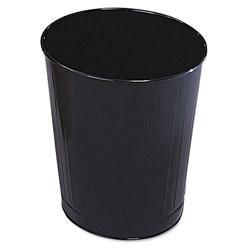 Rubbermaid Fire-Safe Wastebasket, Round, Steel, 6 1/2 gal, Black, 6/Carton