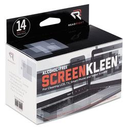 Read Right/Advantus ScreenKleen Alcohol-Free Wipes, Cloth, 5 x 5, 14/Box