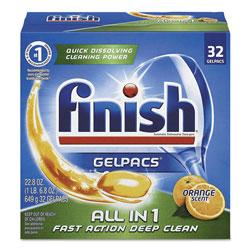 Finish® Dish Detergent Gelpacs, Orange Scent, Box of 32 Gelpacs, 8 Boxes/Carton