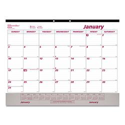 Brownline Monthly Desk Pad Calendar, 22 x 17, White/Maroon, 2021