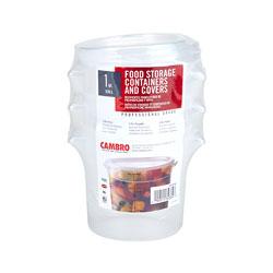 Cambro Multi Pack 1 Quart Translucent Round (3 Pack)