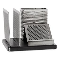Rolodex Desk Organizer, Metal/Wood, 5-7/8 x 5-7/8 x 4-1/2, Black/Sr