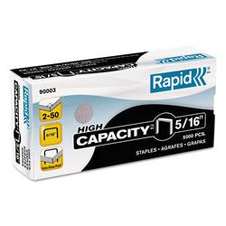 Rapid High Capacity Staples, 0.31 in Leg, 0.5 in Crown, Steel, 5,000/Box