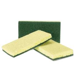Royal   Heavy-Duty Scrubbing Sponge, Yellow/Green, 20/Carton