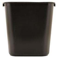 Rubbermaid Deskside Plastic Wastebasket, Rectangular, 7 gal, Black