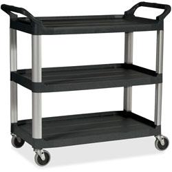 Rubbermaid Three Shelf Plastic Utility Cart, 185/8wx335/8dx373/4h, Black