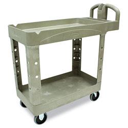 Rubbermaid Heavy-Duty Utility Cart, Two-Shelf, 17.13w x 38.5d x 38.88h, Beige