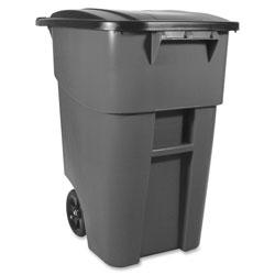 Rubbermaid Square Plastic Wheeled Trash Can, 50 Gallon, Gray