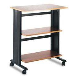 Safco Muv Mobile Machine Cart, Three-Shelf, 29.5w x 20d x 35h, Cherry/Black
