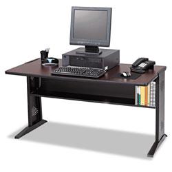 Safco Computer Desk with Reversible Top, 47.5w x 28d x 30h, Mahogany/Medium Oak/Black