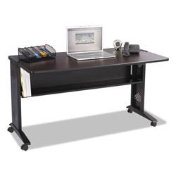 Safco Mobile Computer Desk with Reversible Top, 53.5w x 28d x 30h, Mahogany/Medium Oak/Black