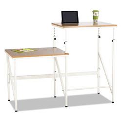 Safco Bi-Level Standing Height Desk, 57.5w x 24d x 50h, Beech/Cream