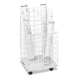 Safco Wire Roll Files, 4 Compartments, 16.25w x 16.5d x 30.5h, White