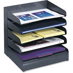 Safco Steel Desk Tray Sorter, 5 Tier, Letter Size, Black