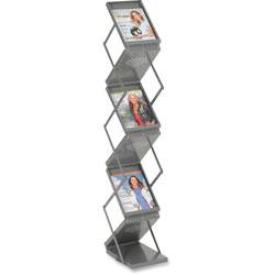 Safco Portable Folding Literature Display, 10w x 13-1/4d x 56h, Metallic Gray