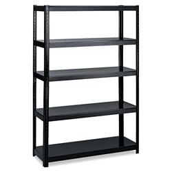 Safco Boltless Steel Shelving, Five-Shelf, 48w x 24d x 72h, Black