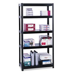 Safco Boltless Steel Shelving, Five-Shelf, 36w x 24d x 72h, Black