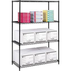 Safco Industrial Wire Shelving Starter Kit, 48 in x 24 in, 4 Shelves, Black