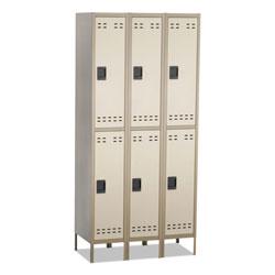 Safco Double-Tier, Three-Column Locker, 36w x 18d x 78h, Two-Tone Tan