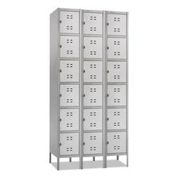 Safco Three-Column Box Locker, 36w x 18d x 78h, Two-Tone Gray