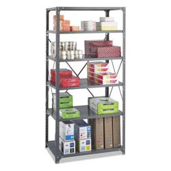Safco Commercial Steel Shelving Unit, Six-Shelf, 36w x 24d x 75h, Dark Gray