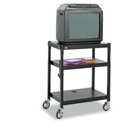 Safco Adjustable-Height Steel AV Cart, 27.25w x 18.25d x 28.5 to 36.5h, Black