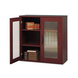 Safco Après Two-Door Cabinet, 30w x 12d x 30h, Mahogany