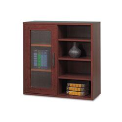 Safco Apr�s Single-Door Cabinet w/Shelves, 29.75w x 11.75d x 29.75h, Mahogany