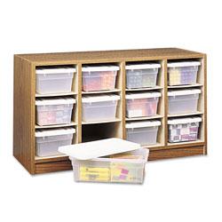 Safco Modular Wood/Plastic 12 Bin Supplies Organizer, 34 x 13 x 19, Medium Oak/Clear