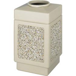 Safco Square Plastic Outdoor Trash Can, 38 Gallon, Beige