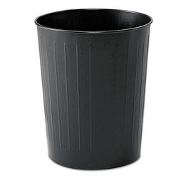 Safco Round Wastebasket, Steel, 23.5 qt, Black