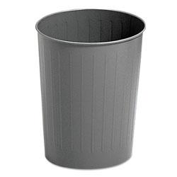 Safco Round Wastebasket, Steel, 23.5 qt, Charcoal